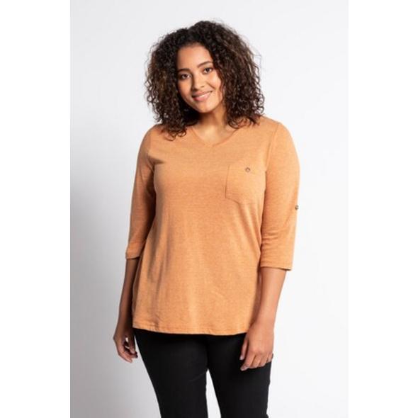 Ulla Popken Shirt, fein geringelt, Classic, Rücken-Knopfleiste - Große Größen