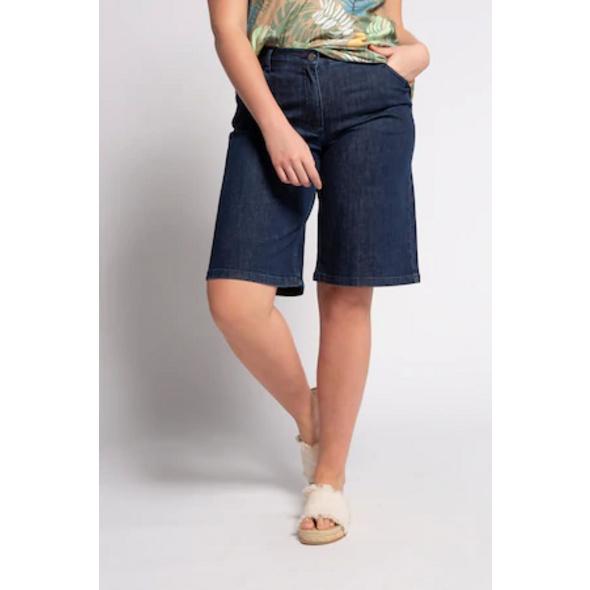 Ulla Popken Jeans-Bermuda, gerade 5-Pocket-Form, Stretchdenim  - Große Größen