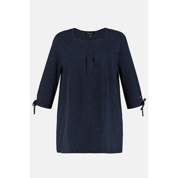Shirt, A-Linie, V-Ausschnitt, 3/4-Ärmel Zier Schnürung