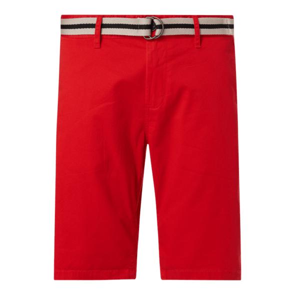 Regular Slim Fit Chino-Shorts mit Gürtel Modell 'Josh'