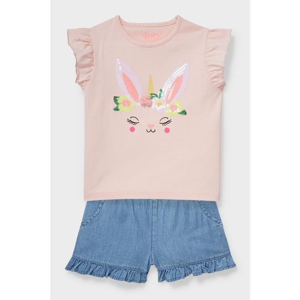 Set - Kurzarmshirt und Jeans-Shorts - Bio-Baumwolle