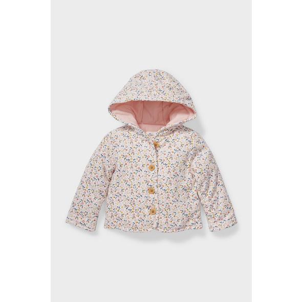 Baby-Jacke mit Kapuze - geblümt - recycelt