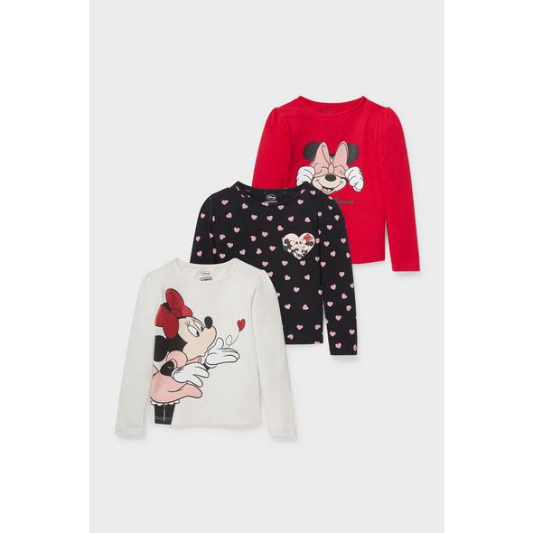 Multipack 3er - Minnie Maus - Langarmshirt - Bio-Baumwolle