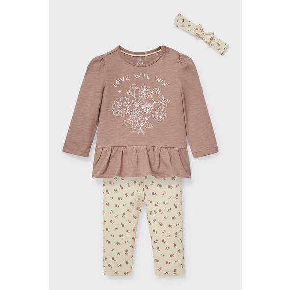 Baby-Outfit - Bio-Baumwolle - 3 teilig - geblümt