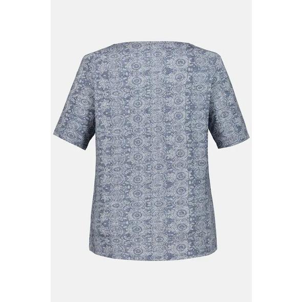 T-Shirt, Ornamentmuster, U-Boot-Ausschnitt