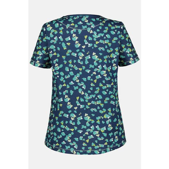 T-Shirt, gemustert, Ziernähte, U-Boot-Ausschnitt