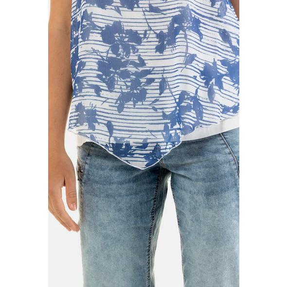 Shirtbluse, gemustertes Chiffontop, Jerseyshirt