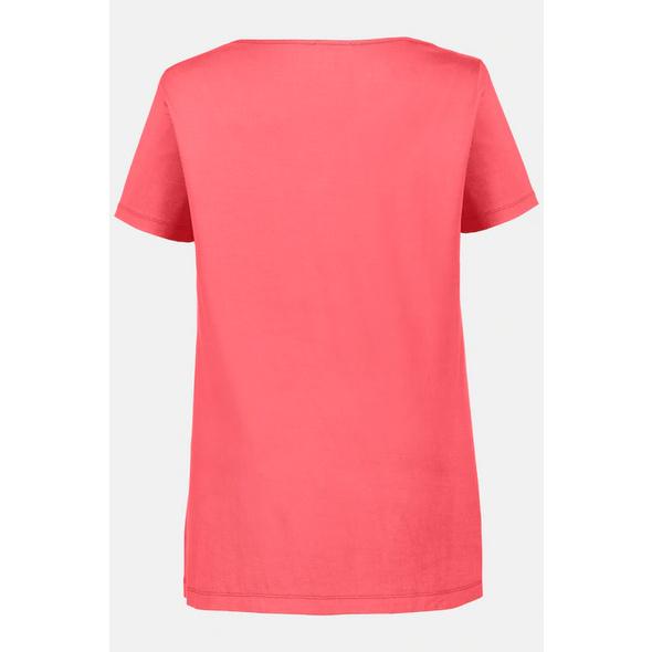 T-Shirt, verzierter Ausschnitt, A-Linie
