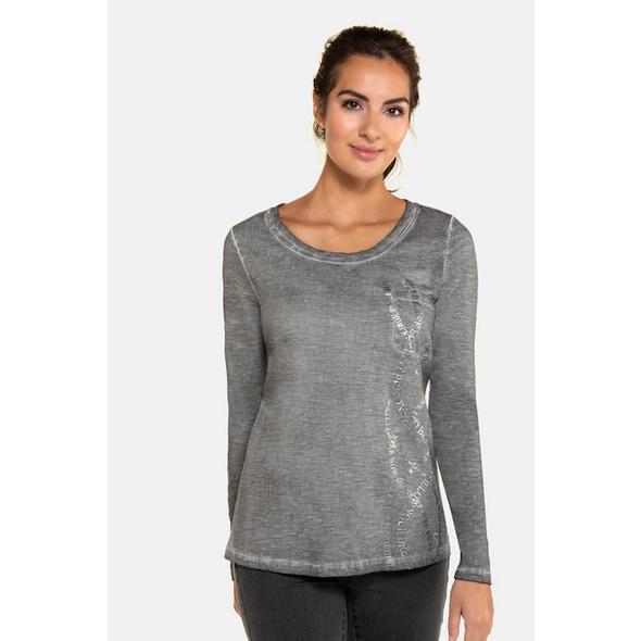 Gina Laura Shirt, cool dyed, Druck/Schirft, Langarm