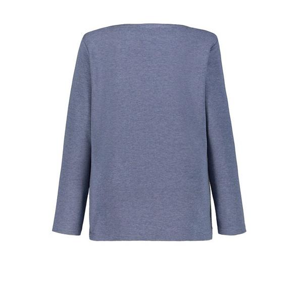 Sweatshirt, Querrippen, U-Boot-Ausschnitt, Zierknöpfe