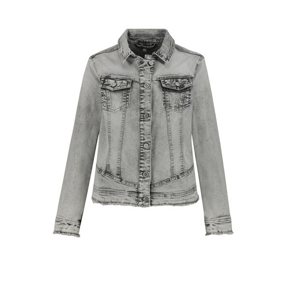 Jeansjacke, innen bedruckt, leicht tailliert