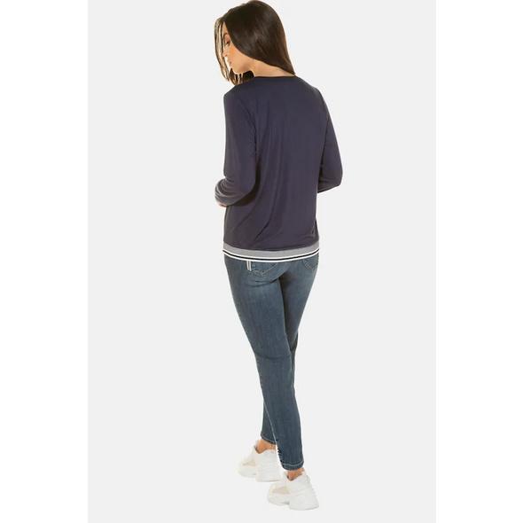 Bluse, elastischer Saum, Krepp, Jersey