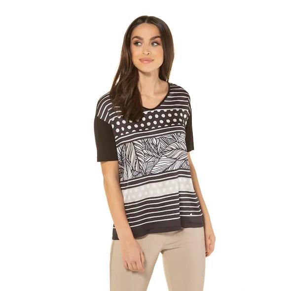 T-Shirt, vorne gemustert, Nackenschlitz