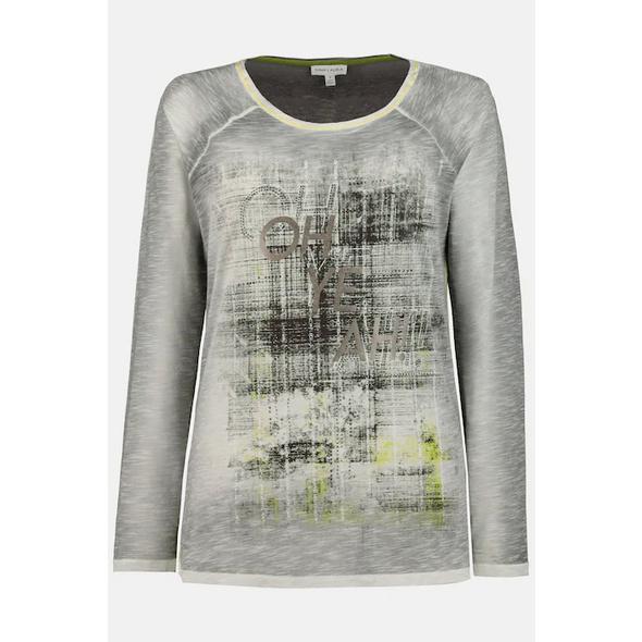 Shirt Identity, Karo/Schrift/Glitzersteinchen, 3/4-Ärmel