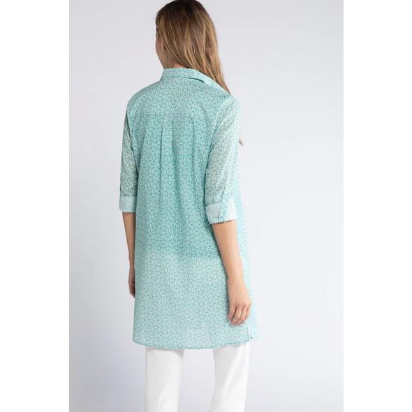 Bluse, gemustert, lange Form, Krempelriegel