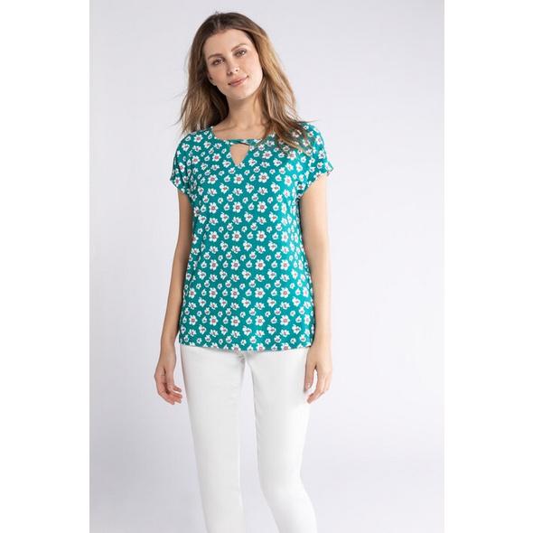Gina Laura T-Shirt, Blumenmuster, Keyhole-Ausschnitt