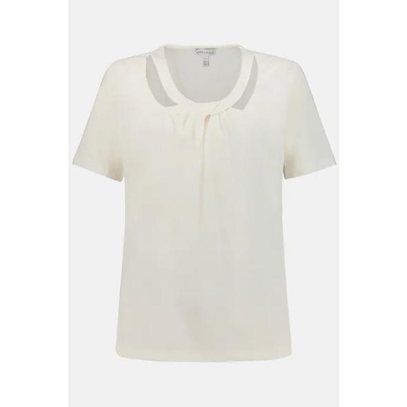 T-Shirt, drapierter Ausschnitt, Halbarm