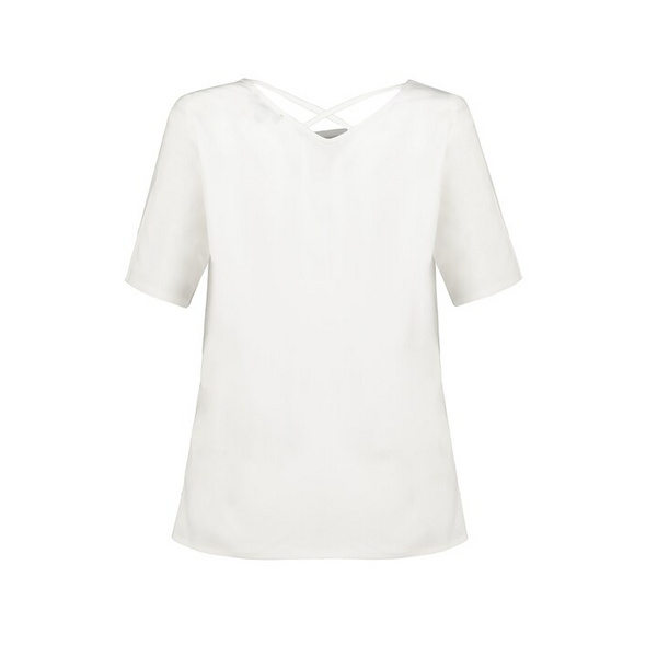 Tunika, Rücken-Zierbänder, V-Ausschnitt, Halbarm