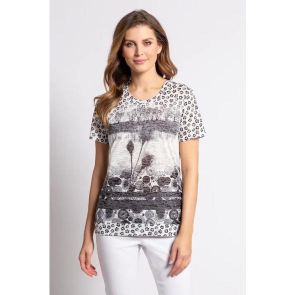 Gina Laura T-Shirt, Punkte, Blüten, Statement, Gummisaum