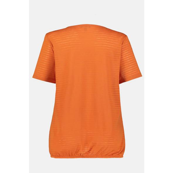 T-Shirt, gestreifter Ausbrennerjersey, Gummisaum