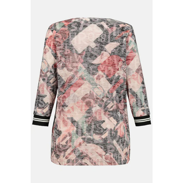 Shirt, Rundhals, 3/4-Ärmel, Buchstabenmuster, Ausbrennerjersey