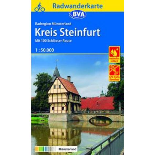 Radwanderkarte BVA Radregion Münsterland Kreis Steinfurt mit 100 Schlösser Route 1:50.000