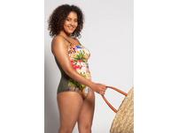 Badeanzug, Afrika-Design, Softcups, 3er-Träger