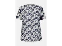 T-Shirt, Blütenmuster, Galonstreifen, Flammjersey