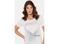T-Shirt, Herzmotiv, Streifen, weiter Rundhalsausschnitt