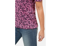 T-Shirt, geblümt, V-Ausschnitt, Halbarm leicht gerafft