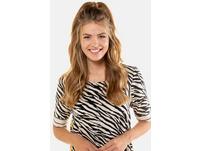 Tunika, Zebraprint, längere Form, Streifenabschlüsse