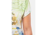 T-Shirt, Punkte, Palmenblätter, Flammjersey