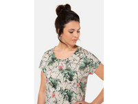 T-Shirt, Palmenmuster, oversized, Flammjersey