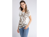 T-Shirt, Palmenmotiv, geraffter Rückenausschnitt