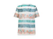 T-Shirt, Musterstreifen, Saumband, Cup-Ärmel