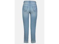 7/8-Jeans Julia, Fransensaum, Ziersteine, schmales Bein