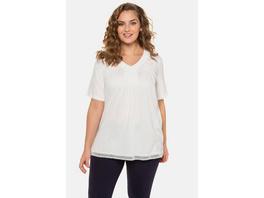 Ulla Popken T-Shirt, Litzenband, A-Linie, Biobaumwolle - Große Größen