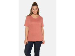Ulla Popken T-Shirt, V-Ausschnitt, Classic, Biobaumwolle - Große Größen