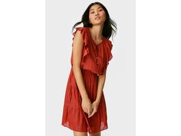 Fit & Flare Kleid - gestreift - Glanz-Effekt