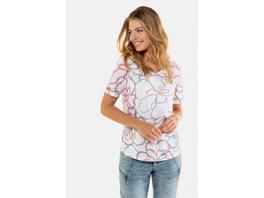 T-Shirt, XL-Blüten, gerundeter V-Ausschnitt